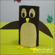 Toilet paper roll penguin-a cute and easy craft to do with dementia patients. Prepaint the toilet paper and pre cut eyes, beak, feet wings and belly