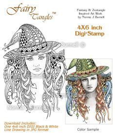 Miss Witch - Fairy Tangles Digi Stamp for Card Making and Scrapbooking: https://www.etsy.com/listing/196177236/miss-witch-fairy-tangles-digi-stamp?ref=listing-shop-header-2
