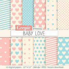 Love digital paper BABY LOVE heart patterns backgrounds in pastel pink and blue #scrapbooking