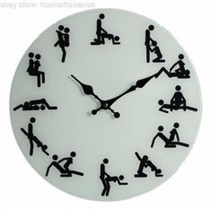 (£24.99 - FREE POSTAGE) 1, 2, 3 o'clock, 4 o'clock F*CK! You'll be sure to pass the hours with this suggestive wall clock!! A different position for every hour of the day, making it the ideal accessory for a bedroom with passion. #Naughty #Novelty #KamaSutra #Glass #Wall #Clock #Sexy #Positions #Present #Gift