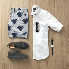 Morgan Short in Printed Japanese Oxford. Stylish Mens Outfits, Casual Outfits, Men Casual, Men's Outfits, Casual Chic, Men Fashion Show, Mens Fashion, Style Fashion, Fashion Tips