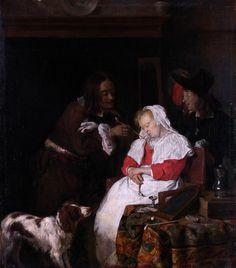 Gabriel Metsu - Two Men with a Sleeping Woman [c.1655-60]