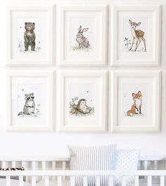 Woodland Nursery Animal Pictures - Deer/ Fox/ Hedgehog/ Owl/ Rabbit/ Squirrel in Baby, Nursery Decoration & Furniture, Walls Decoration | eBay!