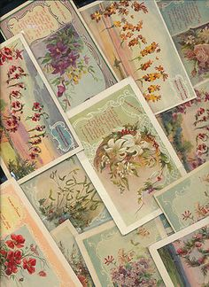 ~Lovely ~Antique lot of 15 ~LANGUAGE OF FLOWERS ~ VINTAGE POSTCARDS-eee641