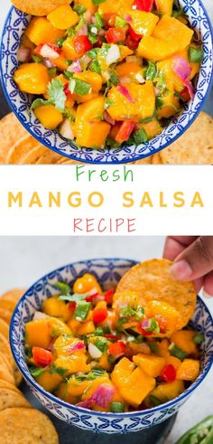 This easy and fresh summer mango salsa recipe is terrific for scooping up with chips. I bet you will see it disappear in a snap when served with corn chips (tortillas). Serve it as a spread over bread or grilled fish or chicken you have meal on the plate. Vegetarian Recipes, Healthy Recipes, Easy Recipes, Fruit Recipes, Healthy Foods, Healthy Eating, Mango Salsa Recipes, Fruit Salsa, Appetizer Recipes