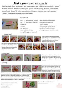 Tsumami kanzashi basics tutorial by EruwaedhielElleth, via Flickr