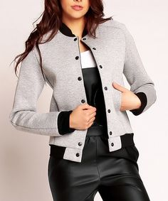 FROM NOMMO & KAREN---LOVES IT!!!   Another great find on #zulily! Gray Bomber Jacket #zulilyfinds
