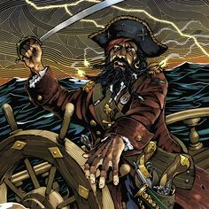 Cover illustration, a portrait of Blackbeard (Edward Teach) for Ask Magazine (Carus Publishing) from 2009 for a special 'Pirates' themed issue.