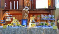 Lion Baby Shower - King of the Jungle Food Table...love the grass skirt table