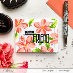 Sixth Street Sundries – Emily Midgett The Ton Stamps, Altenew Cards, Scrapbook Blog, Cute Packaging, Cards For Friends, Friend Cards, Flower Stamp, Sweet Nothings, Card Maker