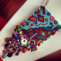 Authentic Peyote Necklace with Natural Stones by incim on Etsy, $235.00