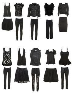 black outfits- i would not wear everything together but i like all the pieces.