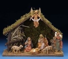 This Fontanini nativity scene comes with a wonderful LED lighted stable that stands H. The scene features 7 pieces and that stand 5 tall. Christmas Nativity Set, Christmas Holidays, Christmas Crafts, Christmas Decorations, Nativity Stable, Nativity Sets, Fontanini Nativity, Nativity Silhouette, Led Christmas Lights
