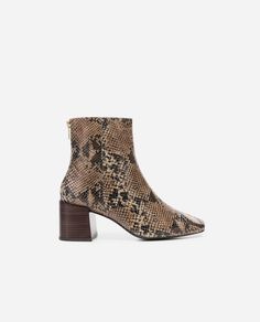 Zebra leather ankle boots Women | Mango United Kingdom