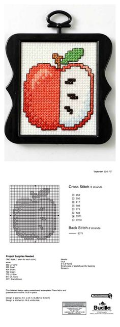 We're excited to bring you another edition of our free mini cross stitch patterns! This month's free pattern download from our Bucilla team is fitting as fall approaches, and apple picking season has us thinking