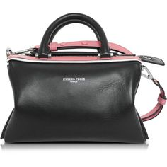 Emilio Pucci Handbags Black Leather Signature Top Handle Habdbag (£450) ❤ liked on Polyvore featuring bags, handbags, man bag, leather boston bag, mini purse, real leather purses and hand bags