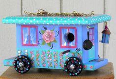 Turquoise Gypsy Wagon Birdhouse with Pan, Lantern and Miniature Birdhouse