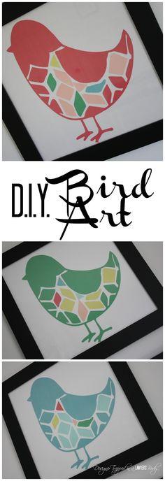 MUST PIN!  Awesome DIY bird wall art--full tutorial | Designer Trapped in a Lawyer's Body.  #diyart #birdart