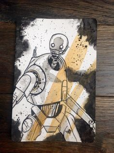 This is an original, one-of-a-kind ink wash and watercolor painting on a 4x6 inch page of K2S0 from Star Wars: Rogue One.  This piece was created with watercolors and India ink. No post-digital work done here; this is all physically produced.  Note that the frame is not included in this sale. It is for illustrative purposes only.  And please follow me on instagram to view other artwork and exclusive offers! @ThisIsAllbroke  Please feel free to message me if interested in a commission! Thanks…