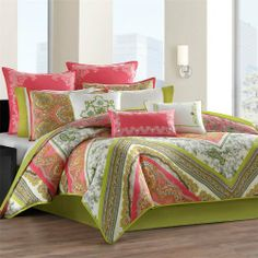 "Echo Gramercy Paisley Comforter Set - Multi - Queen by Echo. $199.99. The Gramercy Paisley Bedding collection is a vibrant overscaled paisley scarf pattern printed on sof. Size: Queen: 92x96""/20x26+1""(2)/60x80""+15"". Material: Cotton. Set Includes: 1 Comforter / 2 Std. Shams / 1 Bedskirt. Patten: Print. The Gramercy Paisley Bedding collection is a vibrant overscaled paisley scarf pattern printed on soft, 100% cotton. The comforter is reversible with a bright overscaled paisley pr..."