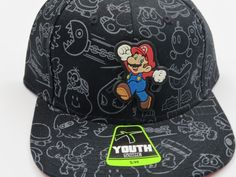 Super Mario Nintendo Black Youth Childrens Size Snapback Hat CLEARANCE SALE #Bioworld #BaseballCap