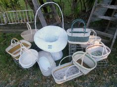 white cane flower display baskets, shopping baskets, craft or whatever use you decide $www.heathsoldwares.com.au Heaths Old Wares, Collectables Antiques and Industrial Antiques. 19-21 Broadway, Burringbar NSW Open 7 days 9am - 5pm phone 0266771181 Hanging Chair, Straw Bag, Baskets, Broadway, Tables, Industrial, Display, Flower, Antiques