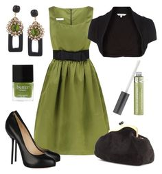 Night Out in Green by sazzledoodle on Polyvore featuring Diamond by Julien Macdonald, Christian Louboutin, Miu Miu, Bijoux Heart, Butter London, COVERGIRL, christian louboutin shoes, black shrug and green dress