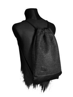 Manufaktur13 Grey Matter Sports Bag -  One Size fits All / Sonderanfertigung auf Anfrage Turnbeutel aus Kunstleder/Filzstoff 100% Echt-Leder Veredelung(Badge) Maße: ca. 50x35x3cm reißfeste / strapazierfähige Baumwollkordeln mit Polyestersehne im Kern