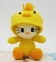 Amigurumi Hello kitty in Chick Costume. $15