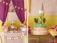 Love this Tangled / Rapunzel princess birthday party! Such cute ideas. Found on www.karaspartyide...