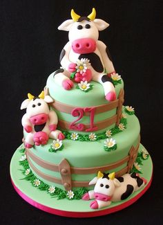 Cow Cake by Takes the Cake Shared by Where YoUth Rise Cow Cakes, Cupcake Cakes, Cow Birthday Cake, Farm Cake, Animal Cakes, Novelty Cakes, Fancy Cakes, Pretty Cakes, Creative Cakes