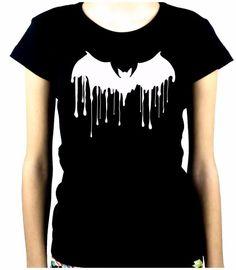 Drip Melting Vampire Bat Women's Babydoll Shirt Top Goth Punk Alternative Grunge
