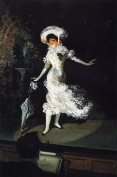 The Singer (1902). Everett Shinn (American, 1876–1953). Oil on canvas. Popular commercial performance venues abounded in New York about 1900 and attracted the Ashcan artists' patronage and professional interest. A 1901 visit to Paris acquainted Shinn with the works of Edgar Degas which strongly inspired him, as can be seen in The Singer and other works of dance and theatre.