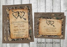 my heart camouflage Wedding Invitation with envelopes Printable Wedding Invitations Arrow to our by TheInkBasket on EtsyPrintable Wedding Invitations Arrow to our by TheInkBasket on Etsy Camo Wedding Invitations, Rustic Invitations, Printable Wedding Invitations, Invitation Envelopes, Invitations Online, Wedding Programs, Shower Invitations, Invite, Wedding Venues