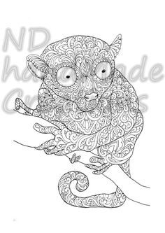 Zentangle doodle patterned sloth design black on white