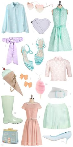 So many pretty pastels, sadly I'm an all black sort of girl. mmm the twoo too Pastel Fashion, Kawaii Fashion, Cute Fashion, Look Fashion, Fashion Beauty, Vintage Fashion, Fashion Styles, Korean Fashion, Visual Kei
