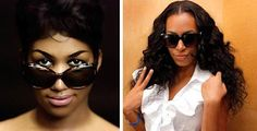 Celeb style THEN & NOW 1960s Aretha Franklin & Now Solange Knowles in oversized sunglasses