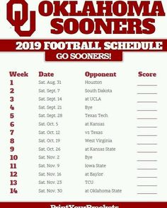 ou sooners 2020 football schedule