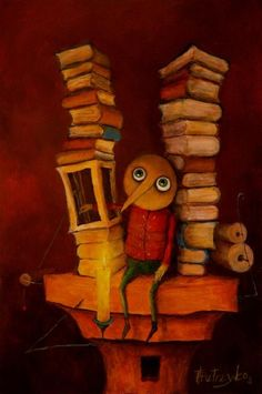 by Thomasz Pietrzyk Illustration Art, Illustrations, Game Design, Love Art, Quilts, Yoko Saito, Painting, Pinocchio, Reading Nooks
