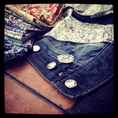 Liberty of London weekend project -covering buttons of denim jacket