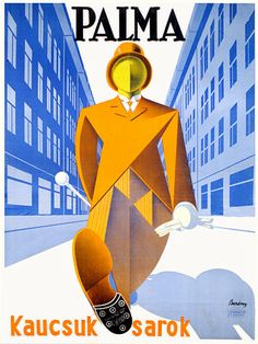 Classic Art Deco Hungarian advertising poster for Palma shoe heels c.1930s https://www.vintagevenus.com.au/vintage/reprints/info/FAS582.htm