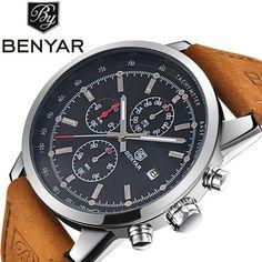 #DealOfTheDay #BestPrice Benyar Men Watch Top Brand Luxury Male Leather Waterproof Sport Quartz Chronograph Military Wrist Watch Men Clock…