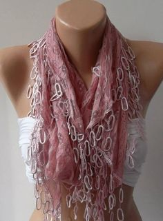 Pink Lace and Elegance Shawl / Scarf  with Lace Edge by womann, $19.90