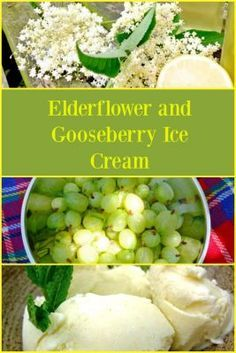 Elderflower and Gooseberry Ice Cream - a perfect combination of sweet, homemade elderflower cordial and tart gooseberries Uk Recipes, Vegetarian Recipes, Cooking Recipes, Healthy Recipes, Delicious Recipes, Sweet Recipes, Healthy Food, Dessert Recipes, Tasty