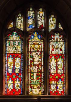The early 15th century East window of St. Mary's church in Westwood, Wiltshire_ England