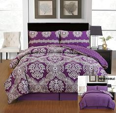 Memory Design Luxurious Egyptian Cotton Touch Reversible 8 Piece Bed In A Bag Set, King Size, Purple Plum Bedding, Purple Bedspread, Bed Comforter Sets, Comforters, Bed In A Bag, Thing 1, Bedroom Decor, Bedroom Ideas, Bedroom Retreat