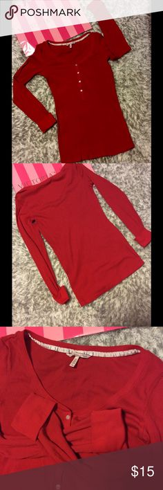 Victoria's Secret Henley Red. Very soft, stretchy material.  Long sleeves. Size Medium.  Good used condition Victoria's Secret Tops