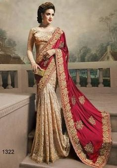 Red and cream embroidered georgette saree witrh blouse