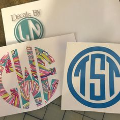 Monogram everything! #decals #monogram #personalized #me #lilly #beach #shells #fun
