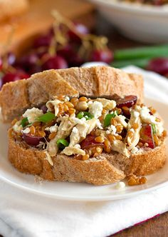 Honey Chicken Salad with Grapes and Feta! Eat it plain if you dont want the extra carbs of the bread! | pinch of yum
